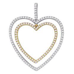 1/2 CTW Round Diamond 2-tone Double Heart Pendant 10kt White Gold - REF-27Y5X