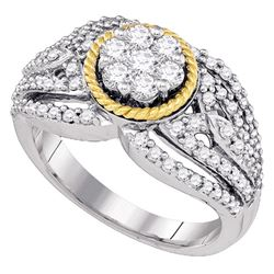 7/8 CTW Round Diamond Roped Flower Cluster Ring 10kt Two-tone Gold - REF-65H9W