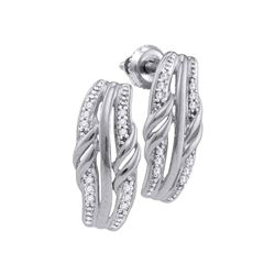 1/12 CTW Round Diamond Fashion Earrings 10kt White Gold - REF-9K6R