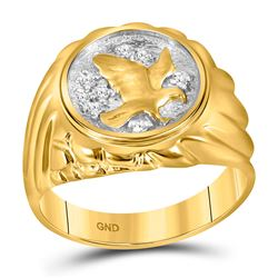 1/10 CTW Mens Round Diamond Cluster Eagle Bird Ring 10kt Yellow Gold - REF-27X5T