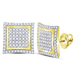 1 CTW Mens Round Diamond Square Kite Cluster Stud Earrings 10kt Yellow Gold - REF-30W3F
