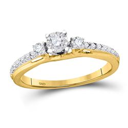 1/3 CTW Round Diamond 3-stone Bridal Wedding Engagement Ring 10kt Yellow Gold - REF-28M8A