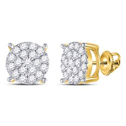 1 CTW Round Diamond Fashion Cluster Earrings 10kt Yellow Gold - REF-54F3M