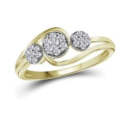 1/6 CTW Round Diamond Triple Cluster Ring 14kt Yellow Gold - REF-20A3N