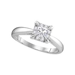 1/2 CTW Princess Diamond Solitaire Bridal Wedding Engagement Ring 14kt White Gold - REF-81W3F