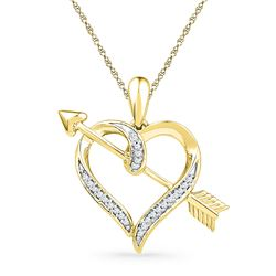 1/12 CTW Round Diamond Heart Arrow Pendant 10kt Yellow Gold - REF-11N9Y