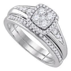 5/8 CTW Round Diamond Halo Bridal Wedding Engagement Ring 14kt White Gold - REF-77N9Y