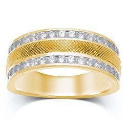 1 CTW Mens Round Diamond Double Row Textured Wedding Ring 14kt Yellow Gold - REF-117T3K