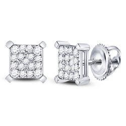 1/4 CTW Round Diamond Square Cluster Earrings 10kt White Gold - REF-18T3K