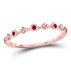 1/12 CTW Round Ruby Dot Flower Stackable Ring 10kt Rose Gold - REF-7X5T