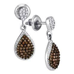 1/2 CTW Round Brown Diamond Teardrop Dangle Earrings 10kt White Gold - REF-19Y2X