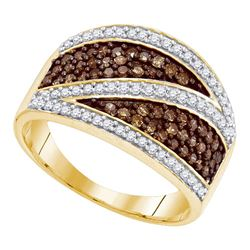 3/4 CTW Round Brown Diamond Crossover Stripe Ring 10kt Yellow Gold - REF-30A3N