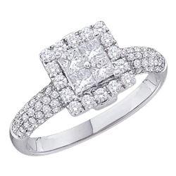 1 CTW Princess Diamond Cluster Halo Bridal Wedding Engagement Ring 14kt White Gold - REF-87H5W