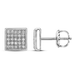 1/6 CTW Round Diamond Square Cluster Earrings 10kt White Gold - REF-11Y9X