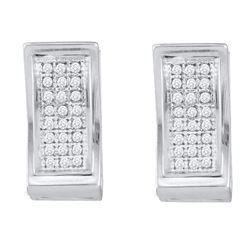 1/6 CTW Round Diamond Triple Row Huggie Earrings 10kt White Gold - REF-18H3W