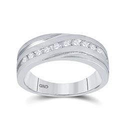 1/2 CTW Mens Round Diamond Wedding Ring 10kt White Gold - REF-60T3K