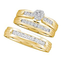 1/2 CTW His & Hers Round Diamond Cluster Matching Bridal Wedding Ring 14kt Yellow Gold - REF-75H5W