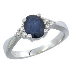 1.20 CTW Blue Sapphire & Diamond Ring 14K White Gold - REF-38X4M