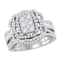1 & 1/2 CTW Round Diamond Bridal Wedding Engagement Ring 14kt Two-tone Gold - REF-113T9K