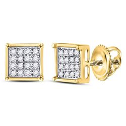 1/10 CTW Round Diamond Square Earrings 14kt Yellow Gold - REF-9M6A