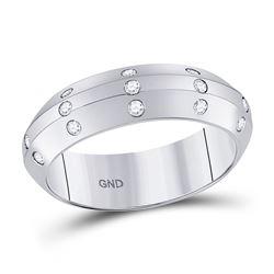 1/6 CTW Round Diamond Wedding Machine-Set Ring 14kt White Gold - REF-41W9F