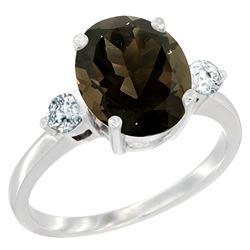 2.60 CTW Quartz & Diamond Ring 14K White Gold - REF-68H6M
