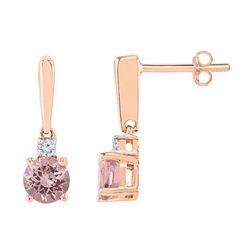 3/8 CTW Round Lab-Created Morganite Dangle Earrings 10kt Rose Gold - REF-24N3Y