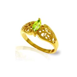 Genuine 0.20 CTW Peridot Ring 14KT Yellow Gold - REF-47V2W