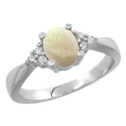0.52 CTW Opal & Diamond Ring 10K White Gold - REF-28R2H