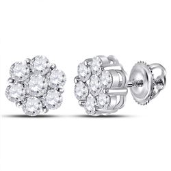 2 CTW Round Diamond Flower Cluster Earrings 14kt White Gold - REF-167M9A