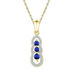 1/2 CTW Round Lab-Created Blue Sapphire 3-stone Pendant 10kt Yellow Gold - REF-13H2W