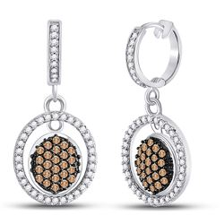 3/4 CTW Round Brown Diamond Oval Frame Dangle Earrings 10kt White Gold - REF-33W6F