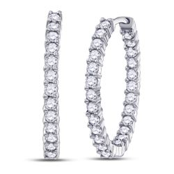 3 CTW Round Diamond Inside Outside Hoop Earrings 14kt White Gold - REF-132T3K