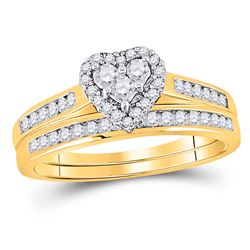 1/2 CTW Diamond Heart Bridal Wedding Engagement Ring 10kt Yellow Gold - REF-33T3K