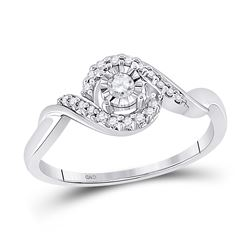 1/6 CTW Round Diamond Solitaire Twist Promise Bridal Ring 10kt White Gold - REF-16X8T