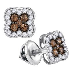 1/2 CTW Round Brown Diamond Square Cluster Earrings 10kt White Gold - REF-20R3H