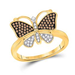 1/5 CTW Brown Round Diamond Cluster Butterfly Bug Ring 10kt Yellow Gold - REF-20H3W