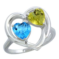 2.61 CTW Diamond, Swiss Blue Topaz & Lemon Quartz Ring 14K White Gold - REF-33N5Y