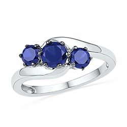 1 & 1/2 CTW Round Lab-Created Blue Sapphire 3-stone Ring 10kt White Gold - REF-13X2T