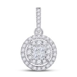1/2 CTW Princess Diamond Fashion Halo Cluster Pendant 14kt White Gold - REF-41Y9X