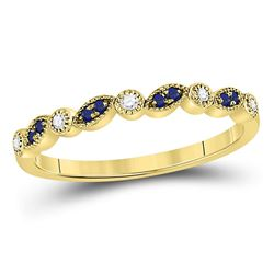 1/10 CTW Round Blue Sapphire Diamond Stackable Ring 10kt Yellow Gold - REF-14W4F