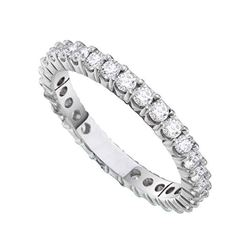 1/2 CTW Round Pave-set Diamond Eternity Wedding Anniversary Ring 14kt White Gold - REF-47F9M