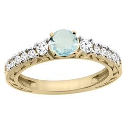 1.10 CTW Aquamarine & Diamond Ring 14K Yellow Gold - REF-81W4F