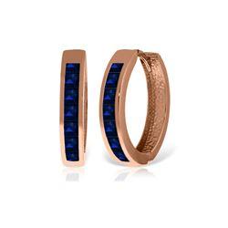 Genuine 1.85 ctw Sapphire Earrings 14KT Rose Gold - REF-64V6W
