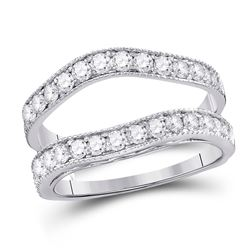 1 CTW Round Diamond Milgrain Wrap Ring 14kt White Gold - REF-69X3T