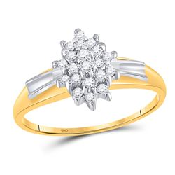 1/4 CTW Round Prong-set Diamond Oval Cluster Ring 10kt Yellow Gold - REF-14N4Y