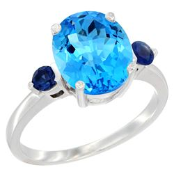 2.64 CTW Swiss Blue Topaz & Blue Sapphire Ring 10K White Gold - REF-24F5N