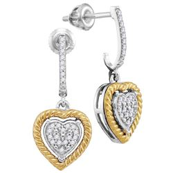 1/8 CTW Round Diamond Rope Heart Dangle Earrings 10kt Two-tone Gold - REF-19H2W