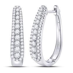 7/8 CTW Round Diamond Oblong Hoop Earrings 10kt White Gold - REF-65M9A