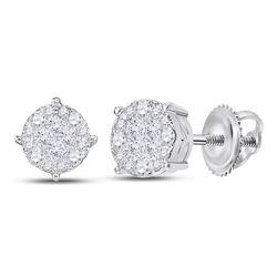 1 & 1/2 CTW Princess Diamond Fashion Cluster Earrings 14kt White Gold - REF-126T3K